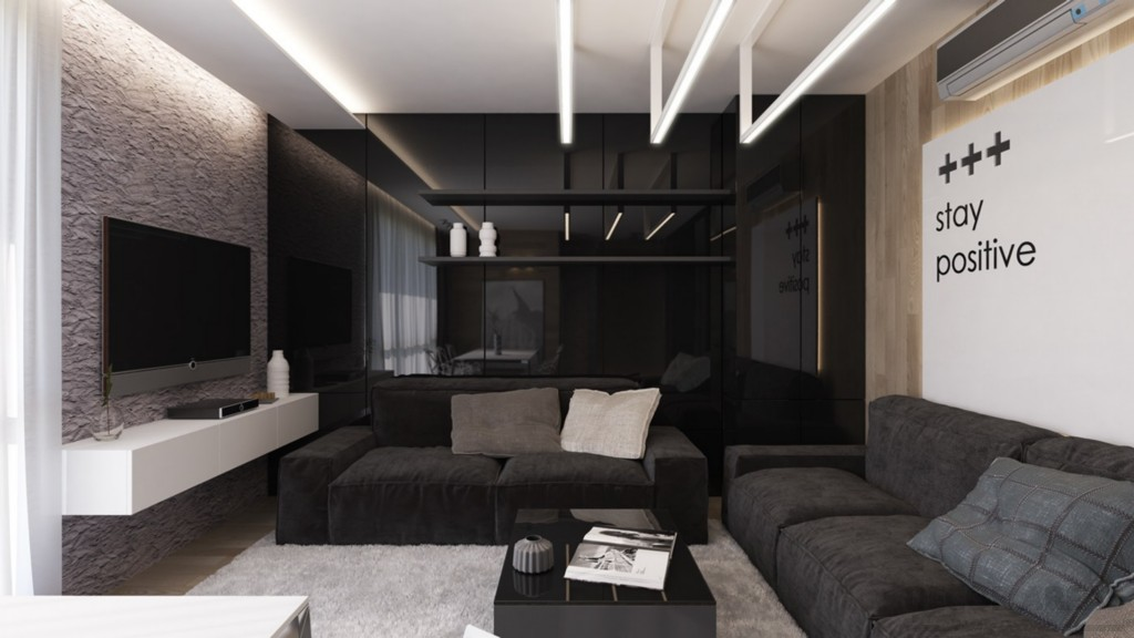 A living room that enhances the contrast of the black and white color scheme